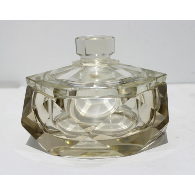 Champagne Art Deco 1930s Cut Crystal Covered Dish For Sale - Image 8 of 12