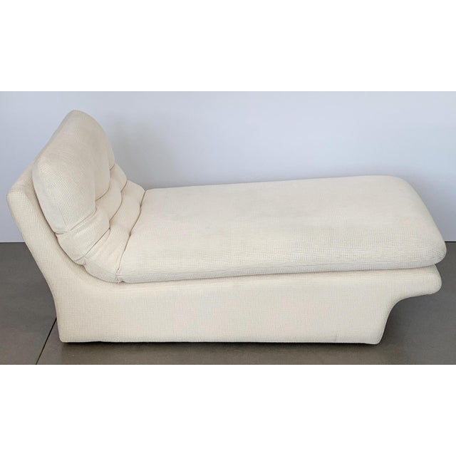 White Modernist Fully Upholstered Chaise Lounge by Preview For Sale - Image 8 of 13