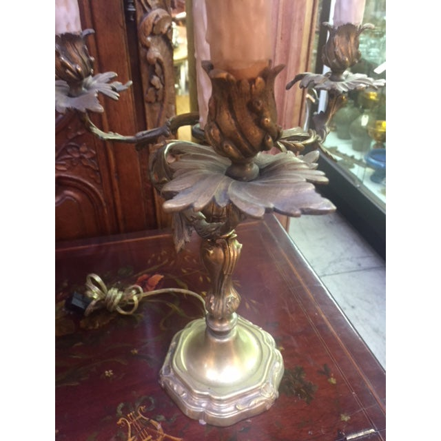 Early 20th Century Antique French Bronze Candle Lamps - A Pair For Sale - Image 4 of 12