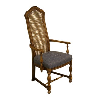 French Country Regency Fruitwood Cane Back Dining Arm Chair For Sale