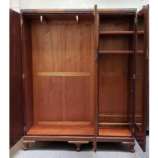 Vintage Triple Door Walnut Armoire W/ Hanging & Shelves C.1930s Preview