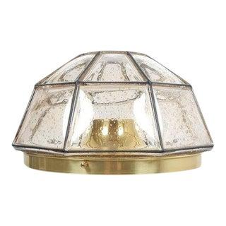 Glashütte Limburg Brass and Glass Flush Mount Ceiling Lamp, Germany, 1960 For Sale