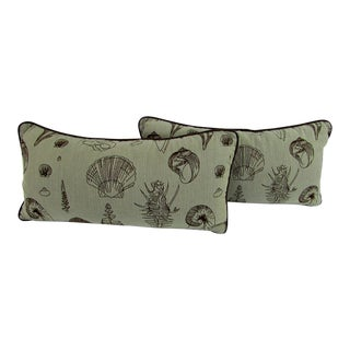Reversible Seashell Print Lumbar Pillows - A Pair For Sale