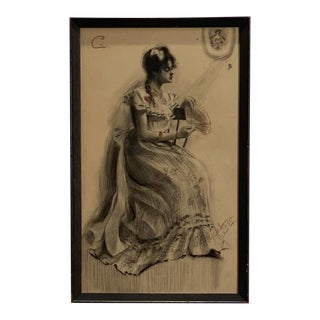Drawing of a Victorian Woman, American Circa 19th Century For Sale