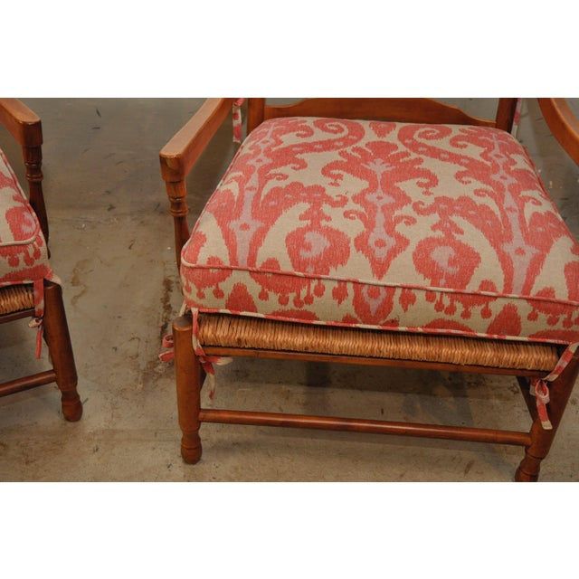 Ikat French Ladderback Cushioned Rush Seat Chairs - A Pair - Image 4 of 8