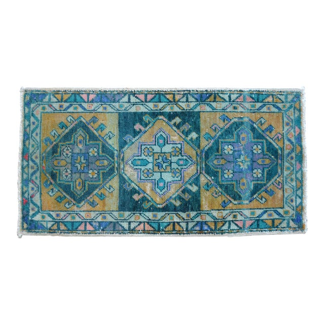 """Hand Knotted Oushak Rug. Faded Oushak Small Rug - 1' 8"""" X 3' 1"""" For Sale"""
