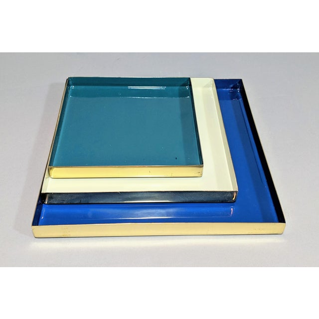 Jonathan Adler Brass and Enamel Blue, Teal & White Trays - Set of 3 For Sale - Image 4 of 13