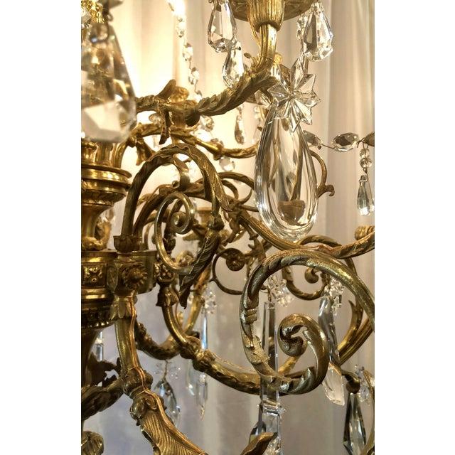 Napoleon III Antique Napoleon III Fine Crystal and Ormolu 18 Light Chandelier. For Sale - Image 3 of 5