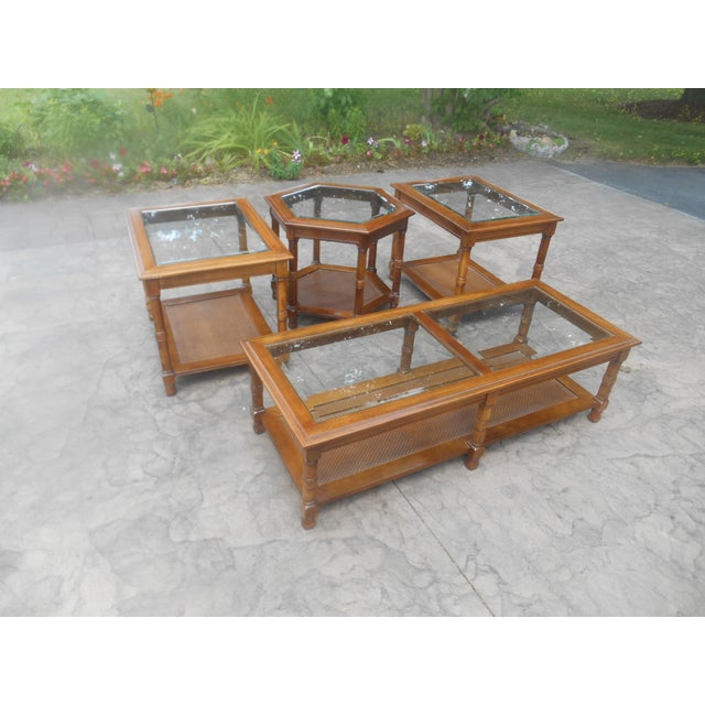 Caning 1960's Mid-Century Coffee Table Set - 4 Pieces For Sale - Image 7 of 7