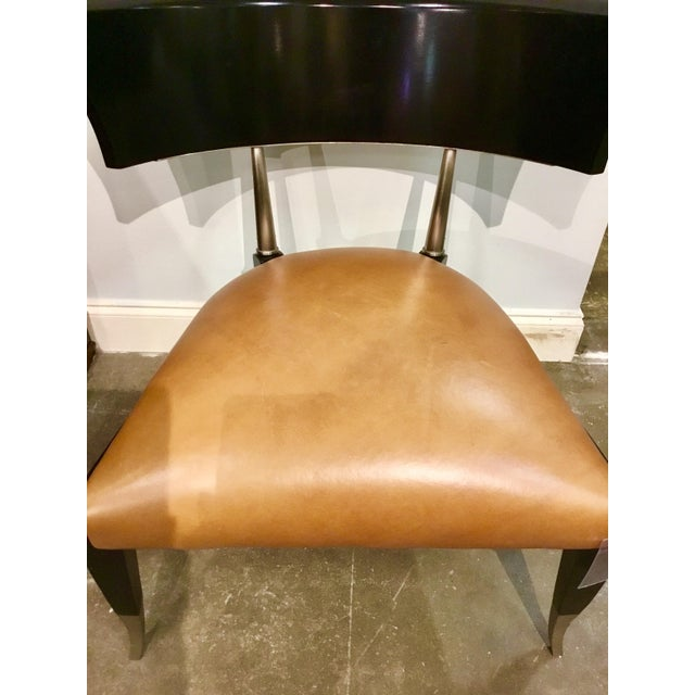 Caracole Caracole Modern Cognac Leather Klismos Chair For Sale - Image 4 of 6