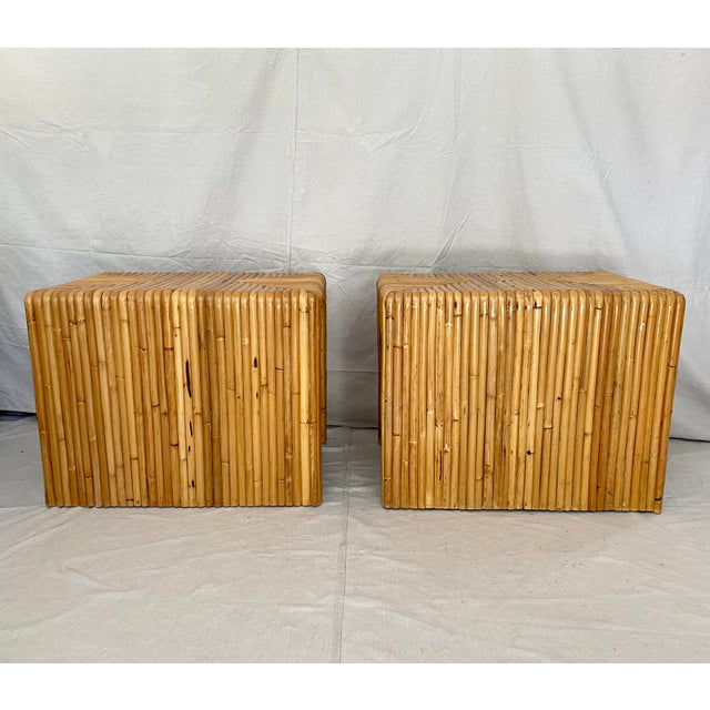 Vintage Split Reed Rattan Waterfall End Tables- a Pair For Sale - Image 9 of 13