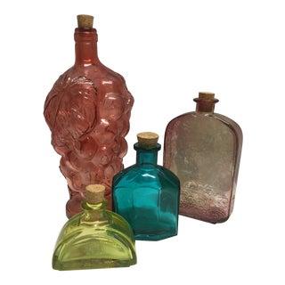 Vintage Spanish Colored Glass Bottles - Set of 4 For Sale