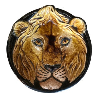 Lion Terra Cotta Hanging Dish, Made in Italy, Rare For Sale