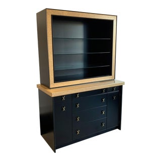 Paul Frankl Cork and Ebonized Sideboard and Hutch for Johnson Furniture For Sale