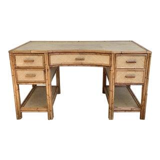 Vintage Bamboo Rattan Desk For Sale