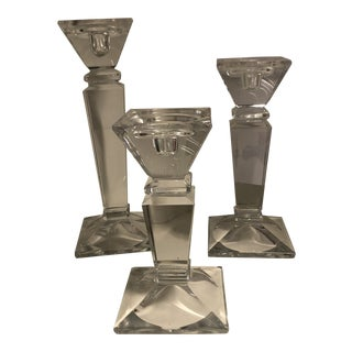 Square Glass Candlesticks - Set of 3 For Sale