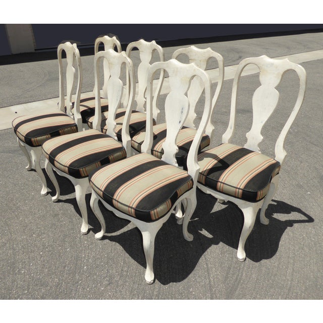 Vintage French Country White Distressed Dining Chairs ...