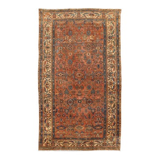 Antique Persian Fine Malayer Large Rug in All Over Design in Sienna Brown and Blue For Sale