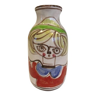 """Mid 20th Century Giovanni Desimone Hand Painted """"Girl With Bird"""" Pottery Vase - Made in Italy For Sale"""