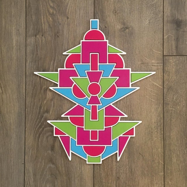 Contemporary Contemporary Blue Green & Pink Artist Proof Puzzle by Chad Wentzel Made For Sale - Image 3 of 3