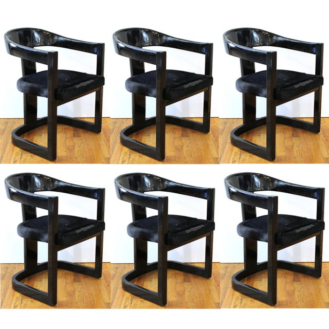 Karl Springer Modern 'Onassis' Black Lacquer Armchairs With Pony Hair Seats For Sale - Image 12 of 12