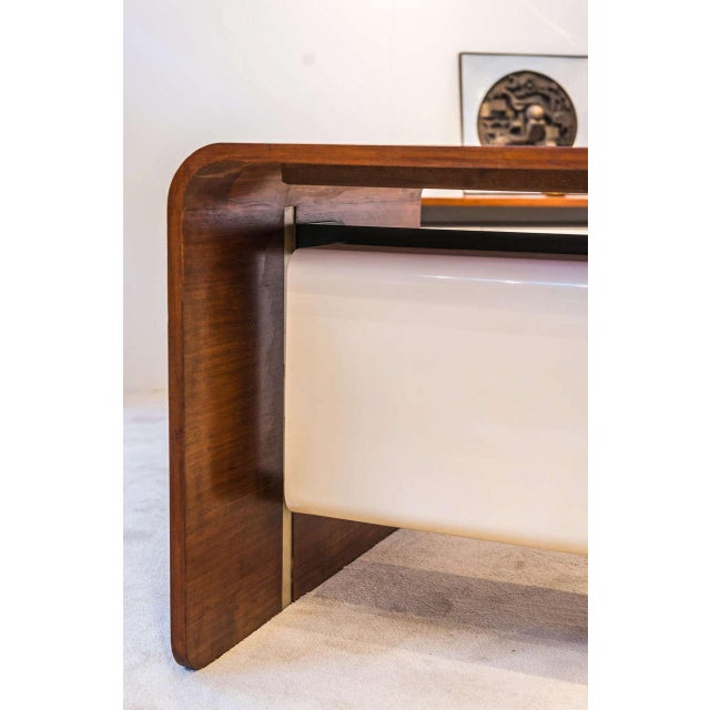 "A rare ""Directeur "" Desk in walnut veneer, lacquered Formica, aluminum and brushed stainless steel. (with original chair)..."
