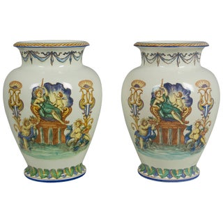 Pair of French Faience Vases by Jules Vieillard For Sale