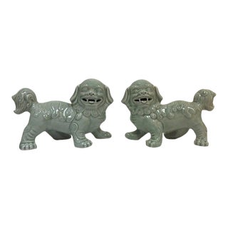 Mid Century Chinese Porcelain Foo Dogs Shishi Dogs Celadon Figurines - a Pair For Sale