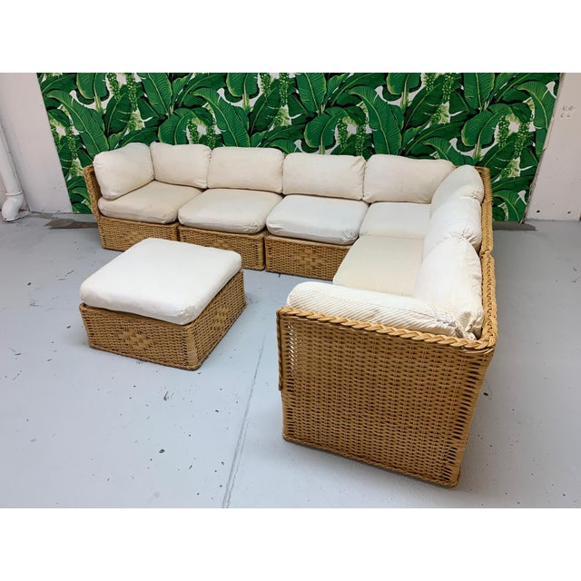 Seven Piece Wicker Sectional Sofa in the Manner of Michael Taylor For Sale - Image 9 of 9