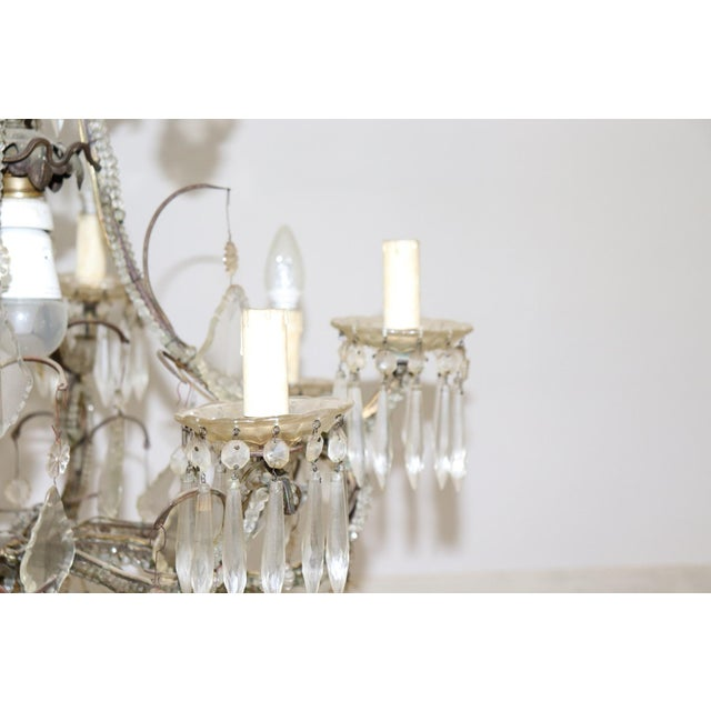 19th Century Italian Louis XVI Style Bronze and Crystals Swarovski Chandelier For Sale - Image 4 of 9