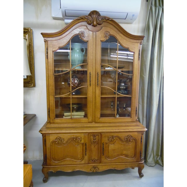 Ceramic French Solid Oak 2 Piece China Cabinet For Sale - Image 7 of 7