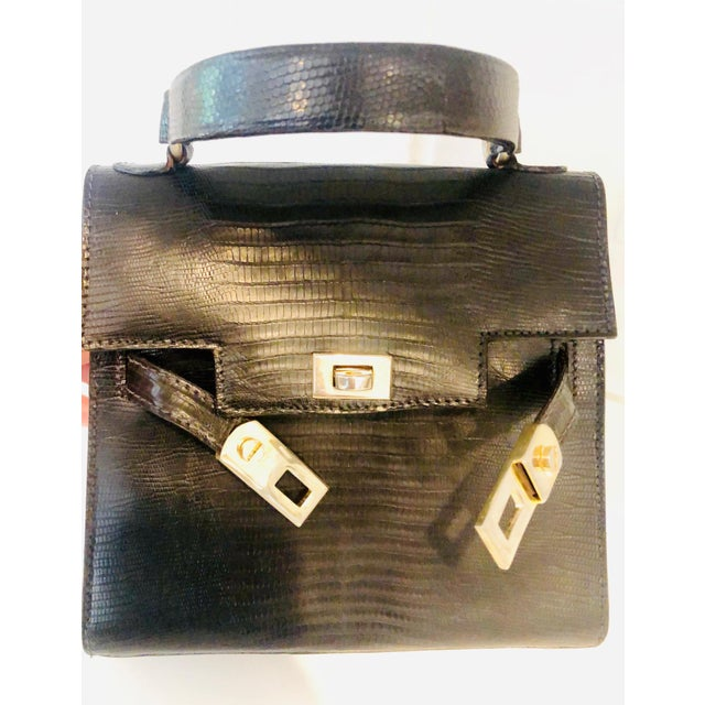 Transitional 1980s Petite Lizard Skin Kelly Style Purse For Sale - Image 3 of 12
