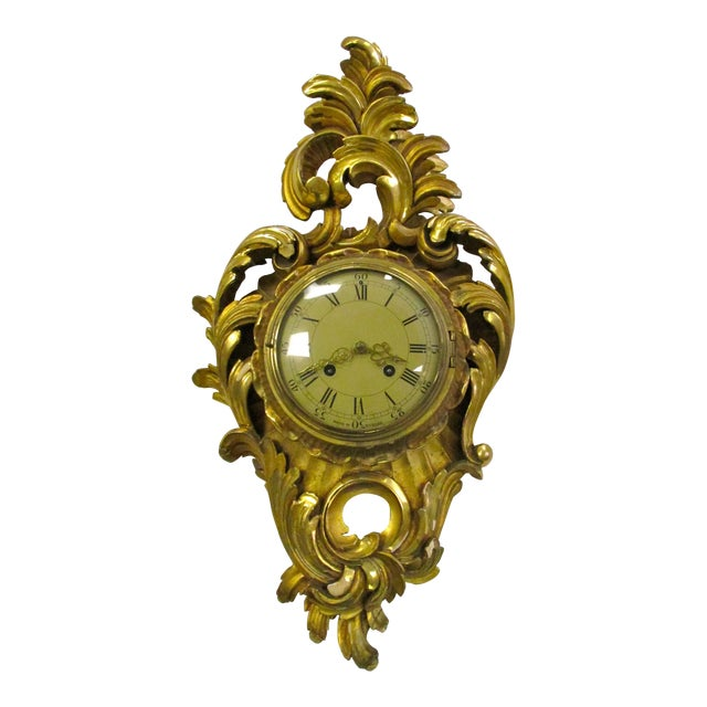 Antique Swedish Gold Gilt Wall Clock For Sale