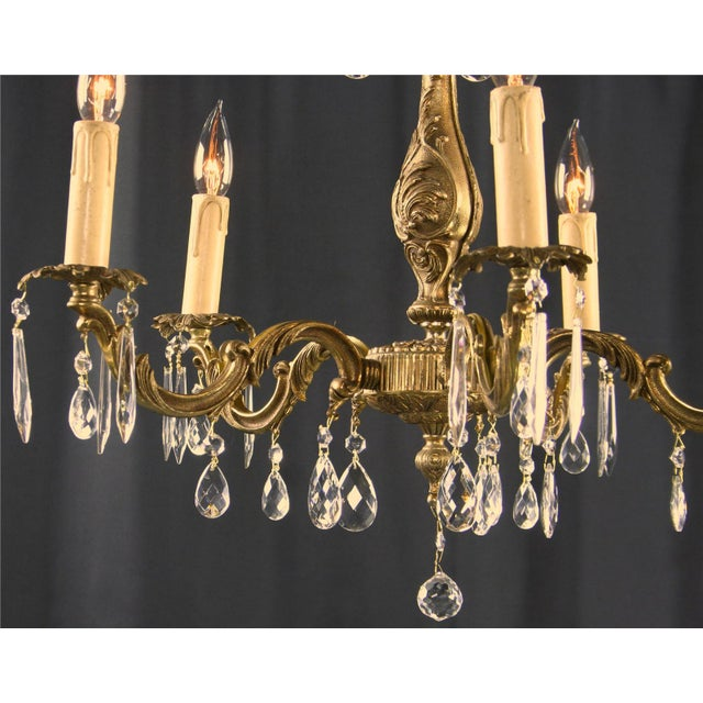 Vintage French Rococo Style 5-Arm Chandelier - Image 5 of 7