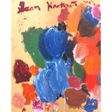 Image of Abstract 'Blue Tangerine' Oil Painting by Sean Kratzert For Sale