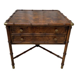 Vintage Campaign Hekman Faux Bamboo Burl Wood Side Table With Drawers For Sale