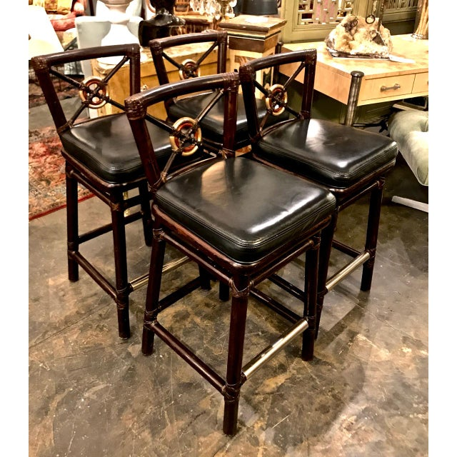 These are outstanding McGuire bar stools in the target form. The stools feature gold leafed target bullseye backs,...
