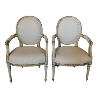 French Painted and Gilded Armchairs - a Pair For Sale