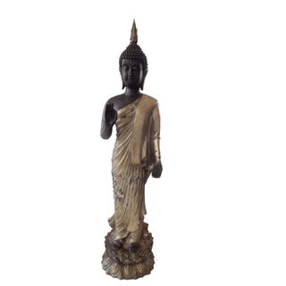 Vtg LG Bronze Standing Buddha Preview