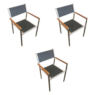 "Aluminum and Teak ""Ozon"" Armchairs by Royal Botania - Set of 4 For Sale"