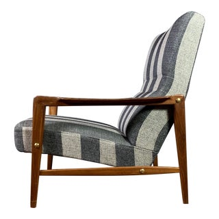1960s Scandinavian Striped-Wool & Walnut Lounge Chair For Sale