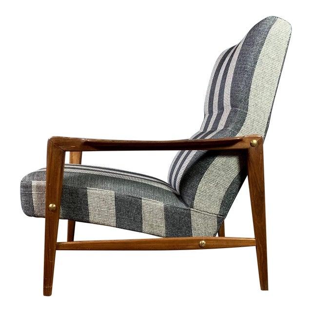1960s Scandinavian Striped-Wool & Walnut Lounge Chair For Sale