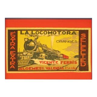 1920's Original Vintage Spanish Fruit Crate Label - La Locomotora Oranges (Framed) For Sale