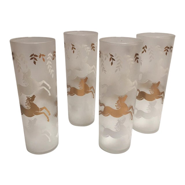 Vintage Mid-Century Gold & White Horses Highball Glasses - Set of 4 - Image 1 of 4