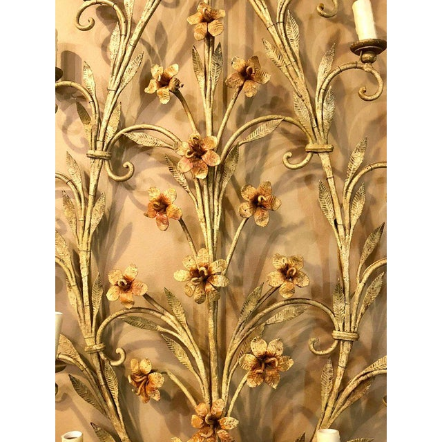 d807ef2d999 Hollywood Regency Italian Fifteen-Light Wall Sconces with Lovely Flowers  and Leaves - a Pair