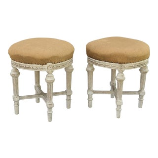 French Louis XVI-Style Stools, Pair For Sale