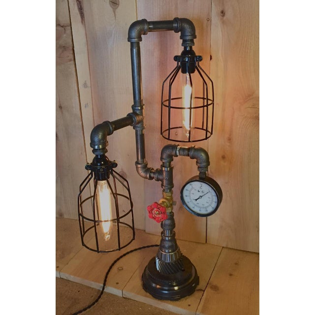 Industrial Steampunk Bulb Cage Lamp - Image 2 of 6