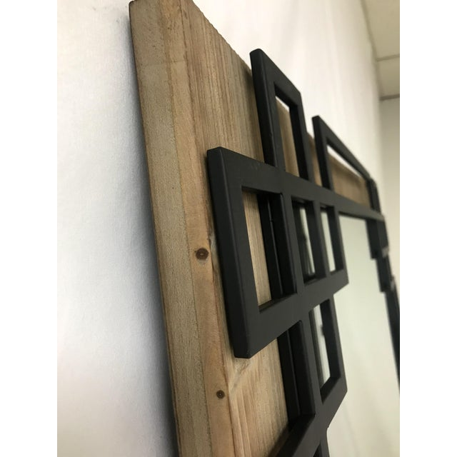 Industrial Wood Frame, Black Iron Overlay Wall Mirror For Sale - Image 3 of 4