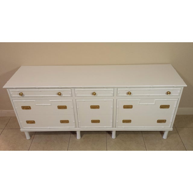 Faux Bamboo Ficks Reed High Gloss White Dresser For Sale - Image 5 of 8