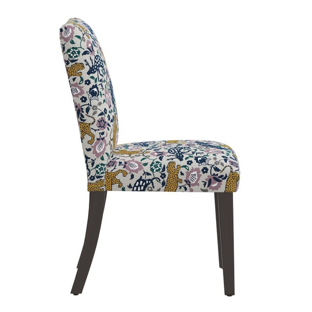 Transitional Dining Chair in Leopard Mustard Plum Fabric For Sale - Image 3 of 8
